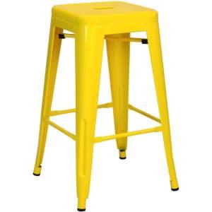 taburete industrial de color amarillo