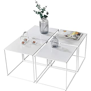mesa de centro industrial blanca 10