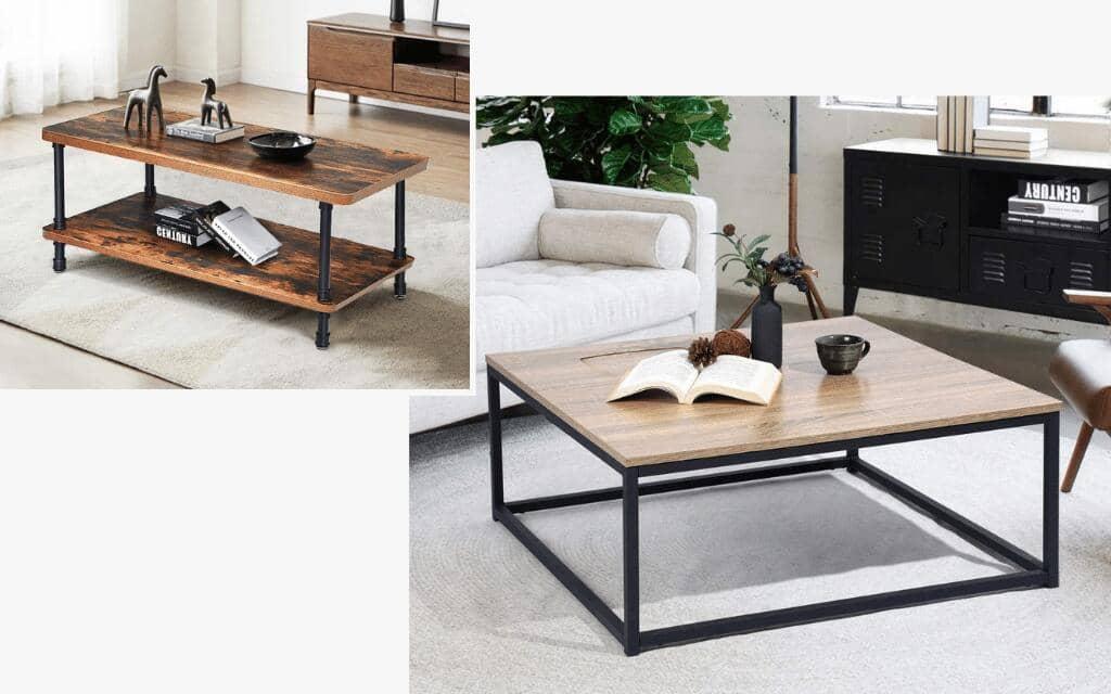 mesa de centro tipo industrial
