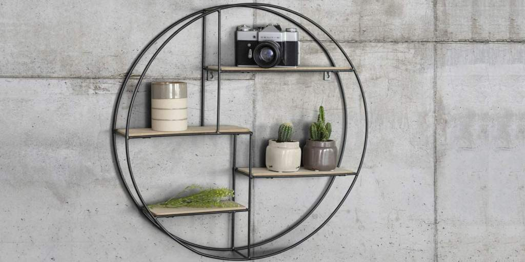 estantería de pared estilo industrial