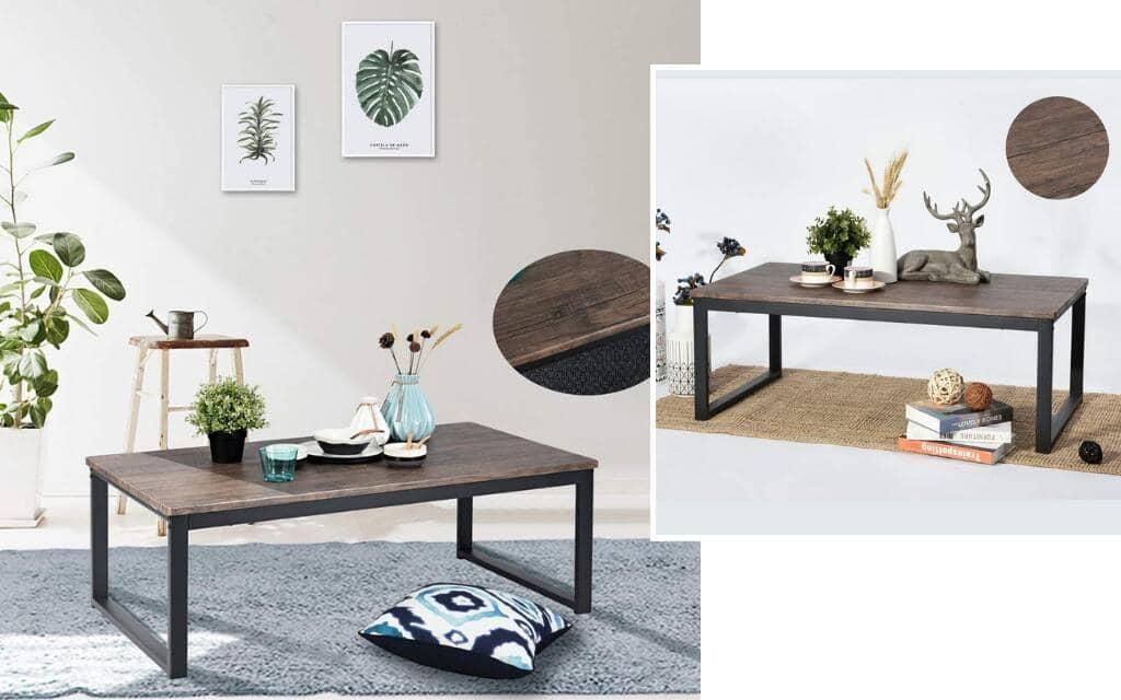 mesa auxiliar en metal y madera