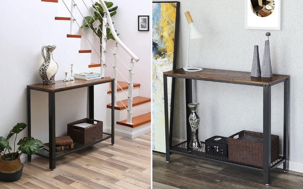 recibidor industrial en metal y madera