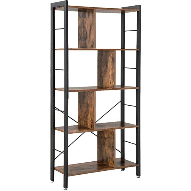 biblioteca estilo industrial en metal y madera