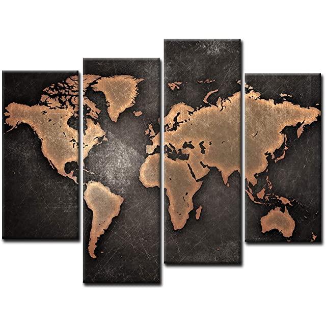 Cuadro Mapa Mundo Estilo Industrial