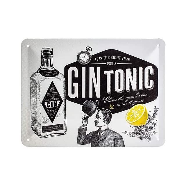 Cuadro Chapa Retro Gin Tonic