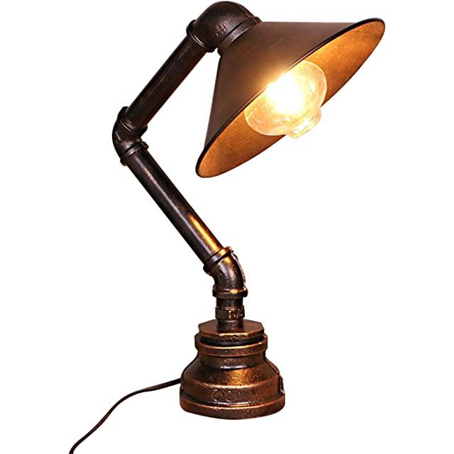 Lámpara de Mesa Industrial con Tuberías