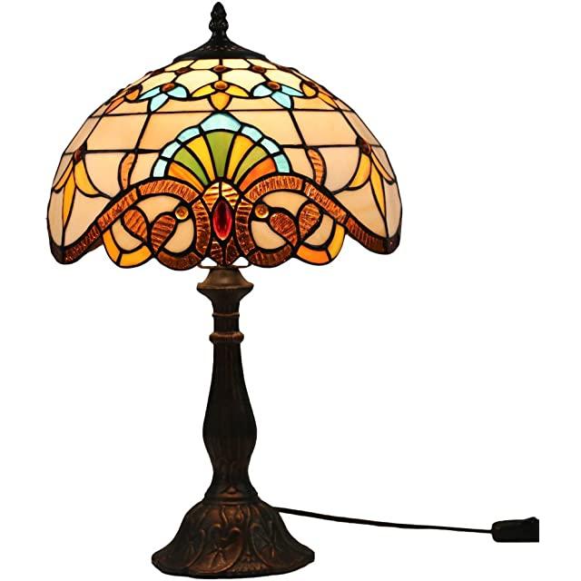 Lámpara Vintage con Vitraux Decorativo