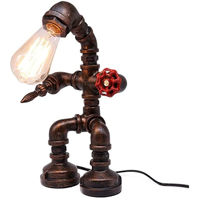 Lámpara de Tuberías con Figura Humana