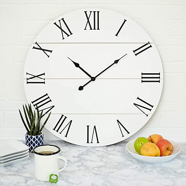 Reloj Industrial de Madera Blanca