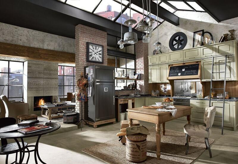 cocina estilo industrial con ventanales