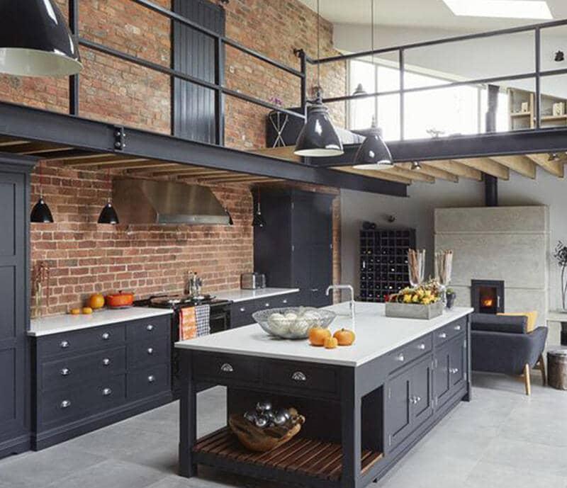 cocina estilo industrial con ladrillo visto