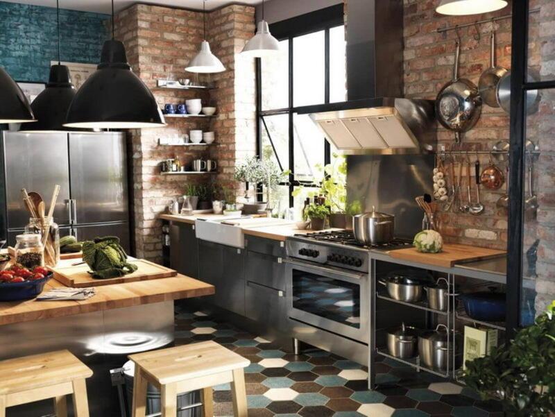 cocina estilo industrial luminosa