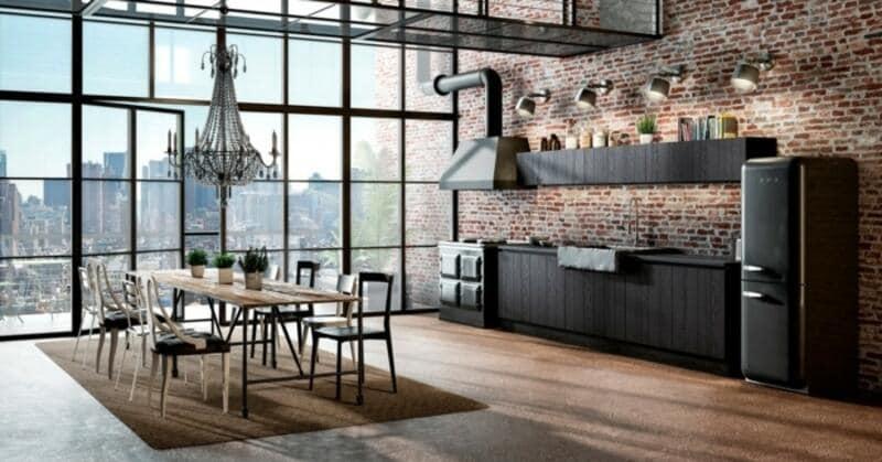 cocina estilo industrial con ventanal vidriado y paisaje