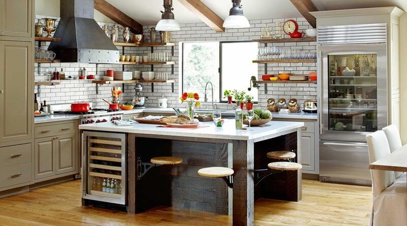 cocina estilo industrial con colores
