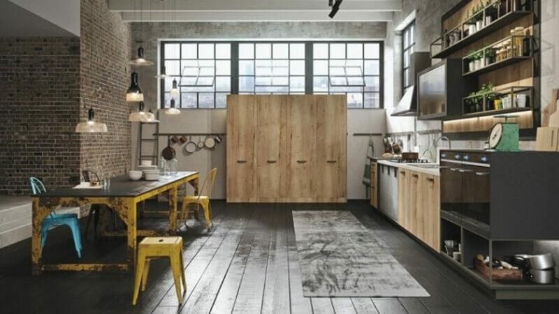 cocina estilo industrial rustica con ventanal