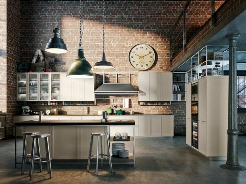 cocina estilo industrial con ladrillo visto y plafones