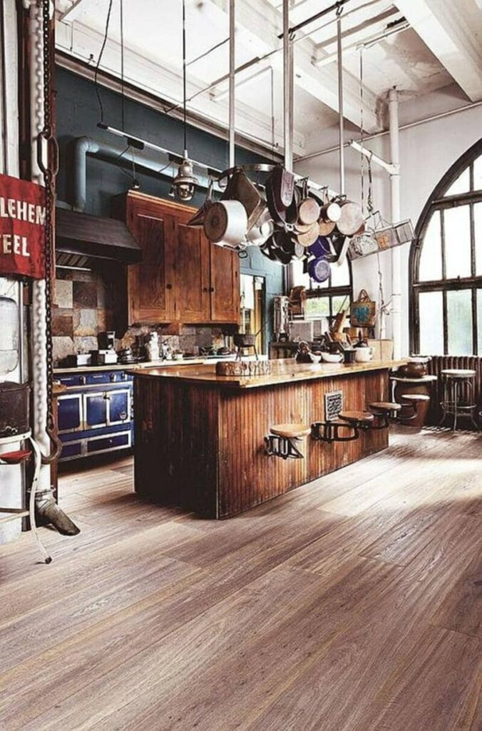 cocina estilo industrial rustica