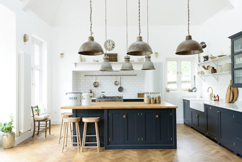 cocina estilo industrial con paredes blancas e isla