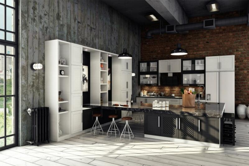 cocina estilo industrial en color blanco y negro
