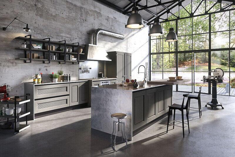 cocina estilo industrial con amplio ventanal al jardín