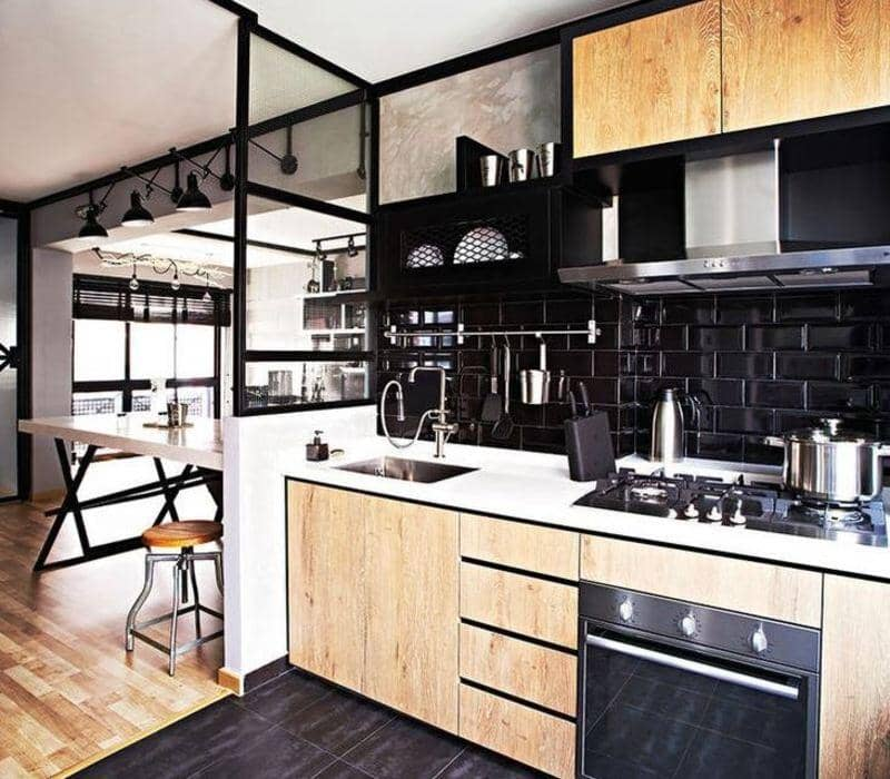 cocina estilo industrial sectorizada