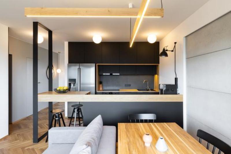 cocina estilo industrial en piso departamento