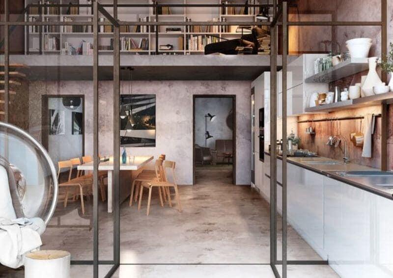 cocina estilo industrial en colores cemento