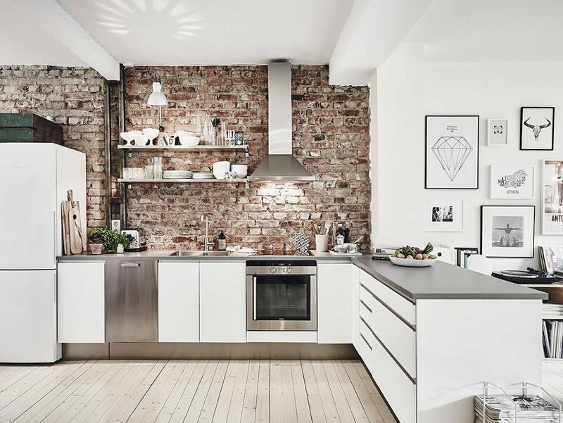cocina estilo industrial blanca