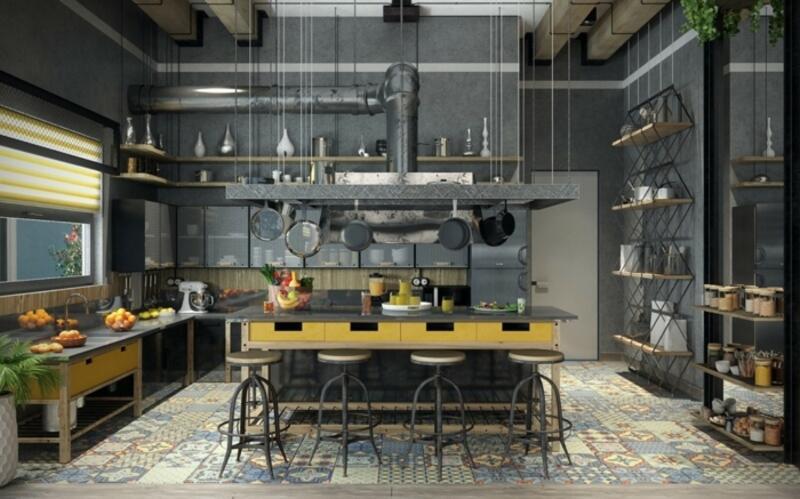 cocina estilo industrial clásico