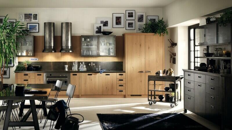 cocina estilo industrial en metal y madera