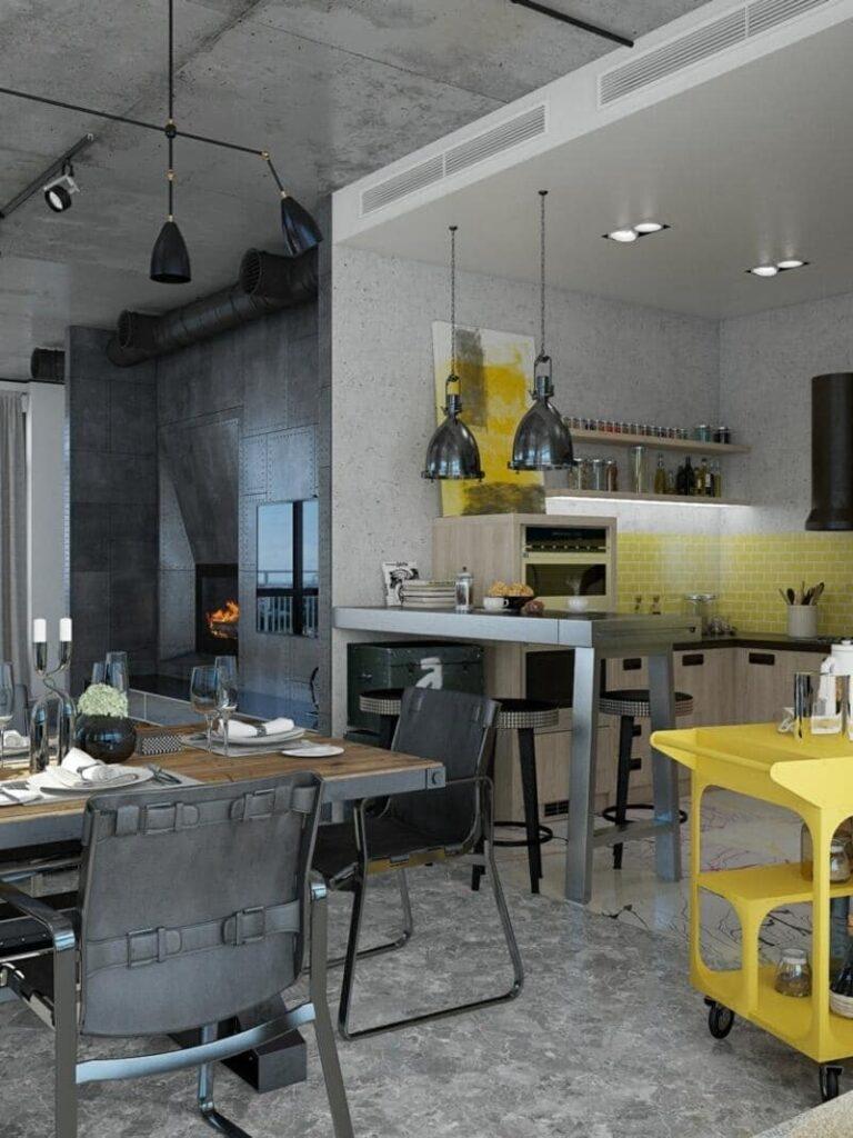 cocina estilo industrial con decoración metálica
