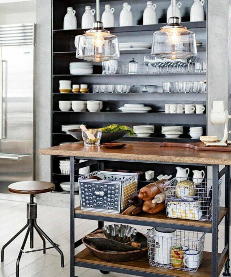cocina estilo industrial, barra y taburete