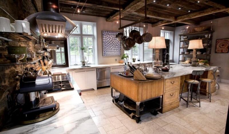 cocina estilo industrial rustica con madera