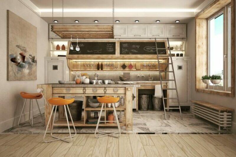 cocina estilo industrial con muebles de madera