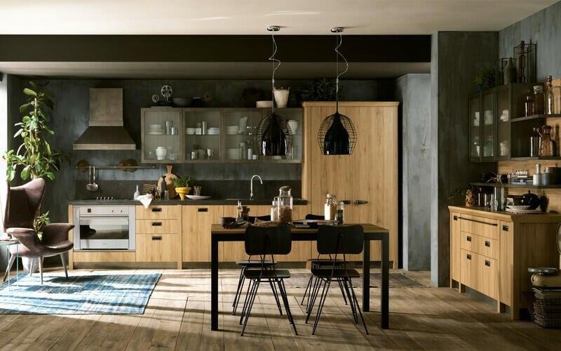 cocina estilo industrial madera negro