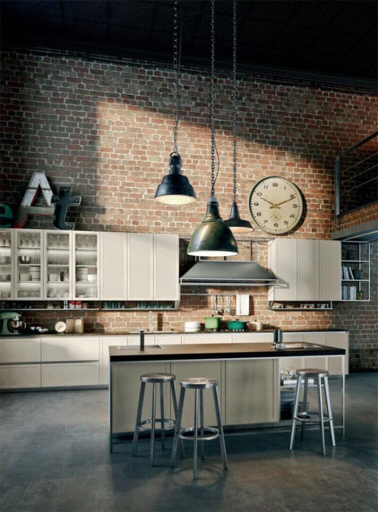 cocina estilo industrial con reloj industrial y ladrillo visto
