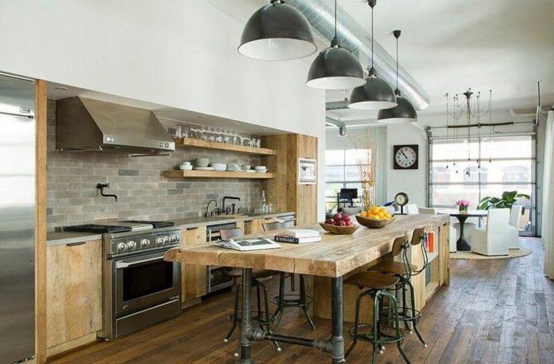 cocina estilo industrial madera blanco