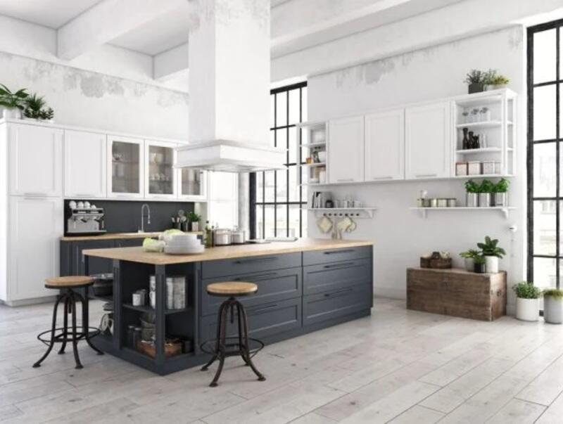 cocina estilo industrial blanca nórdica con isla