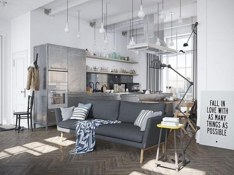 cocina estilo industrial con sofá
