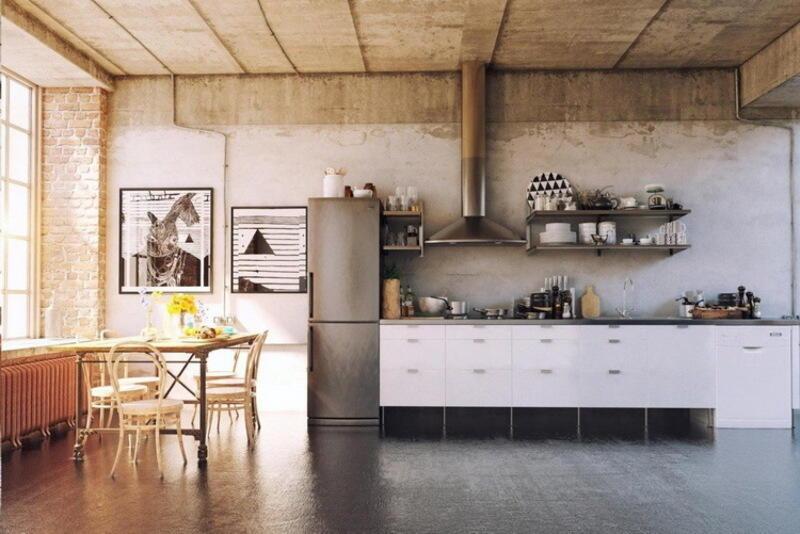 cocina estilo industrial con paredes, piso y techo de cemento