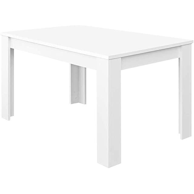 mesa de comedor estilo industrial blanca