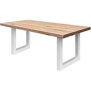 mesa de comedor industrial blanca 02