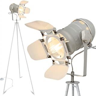 lampara de pie industrial blanca 01