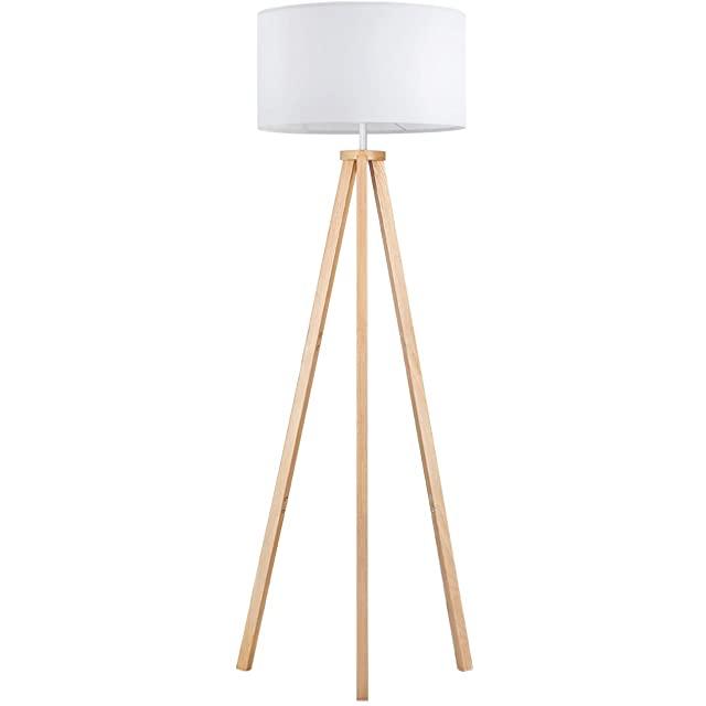 lampara de pie industrial blanca