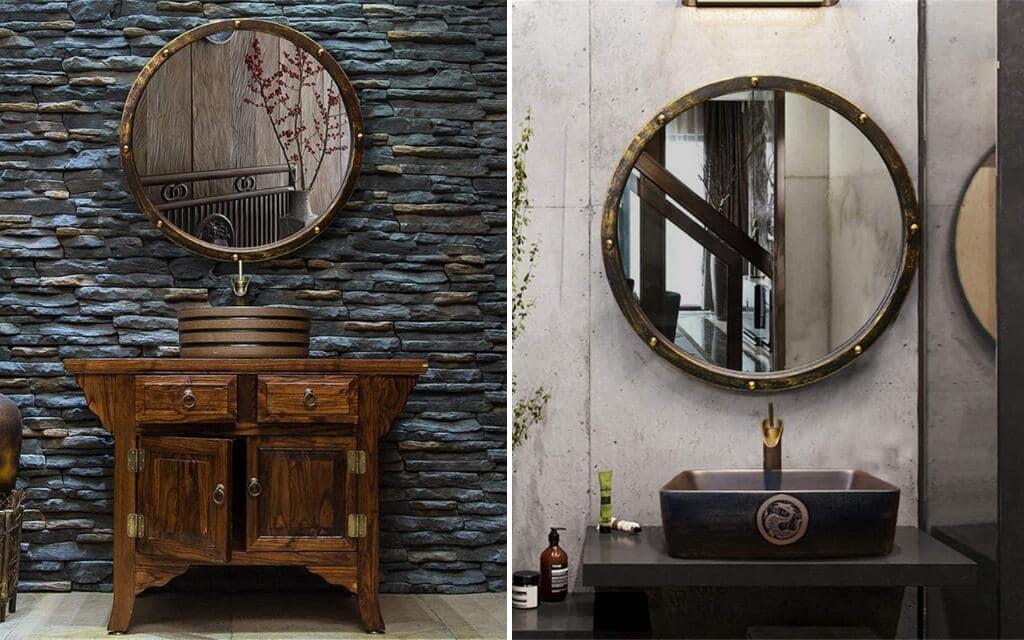 espejo estilo industrial para baño