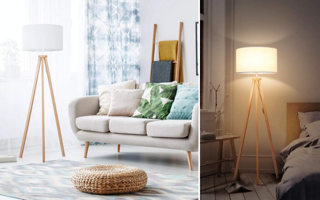 lámpara de pie industrial blanca