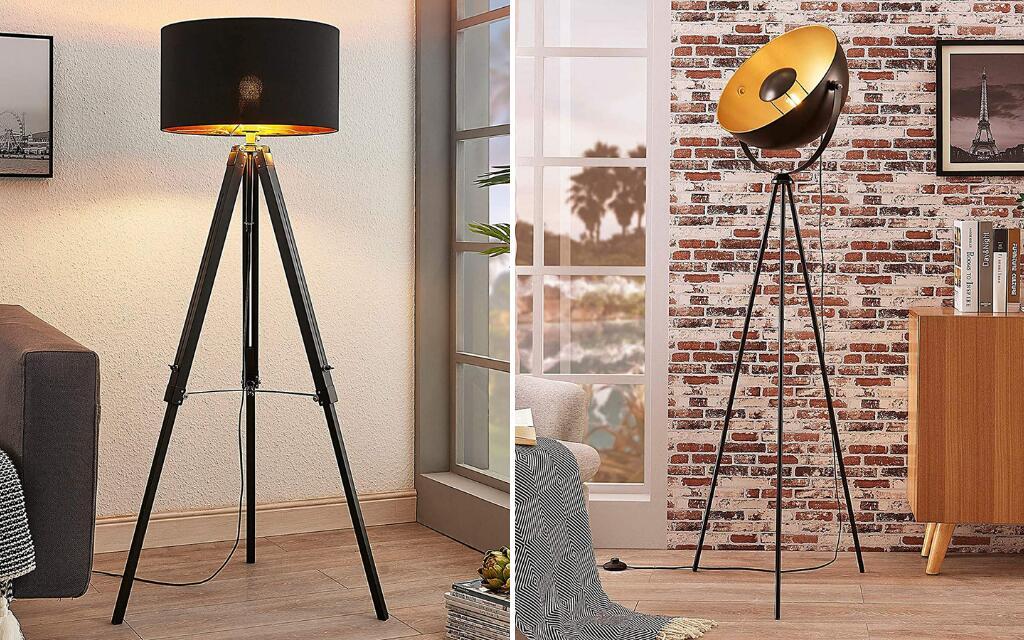 lampara de pie con tripode