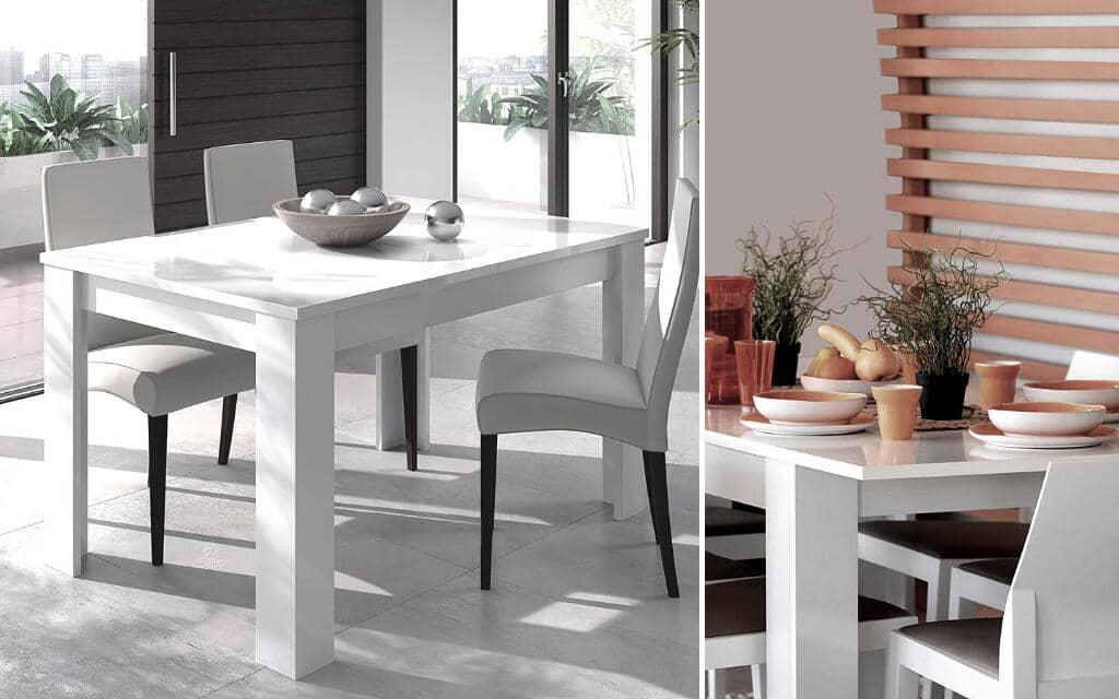 mesa comedor estilo industrial blanca