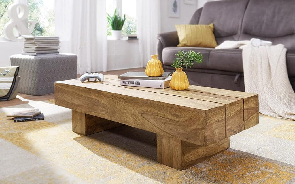 mesa de centro industrial de madera