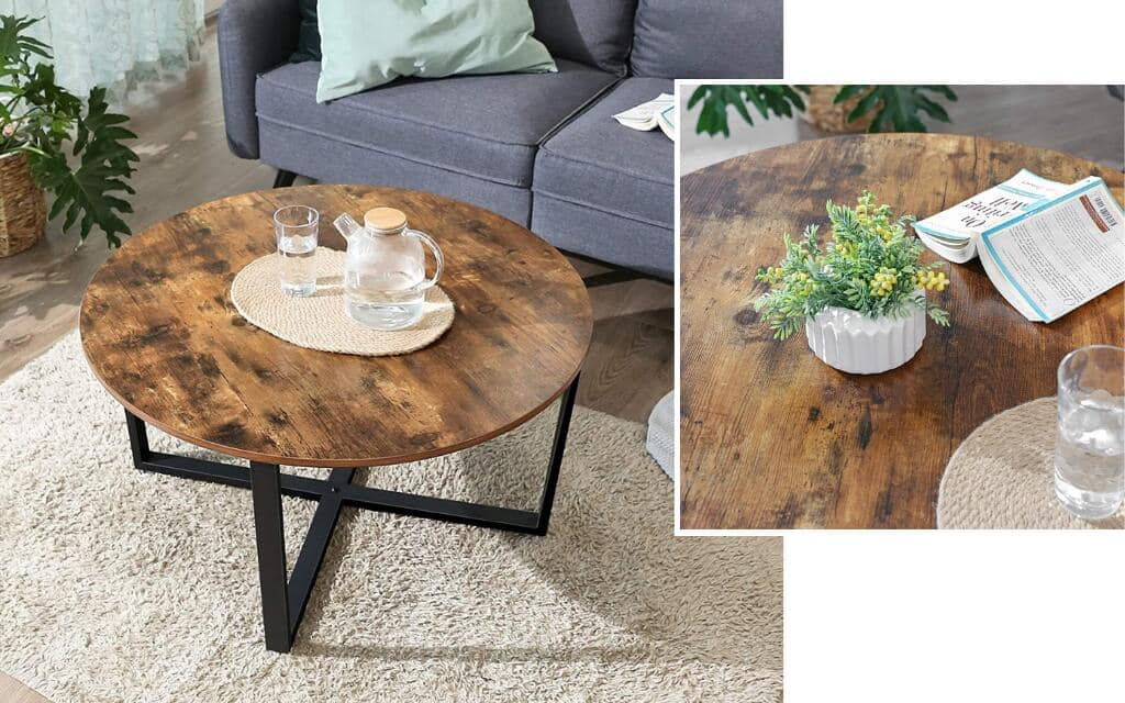 mesa de centro redonda estilo industrial